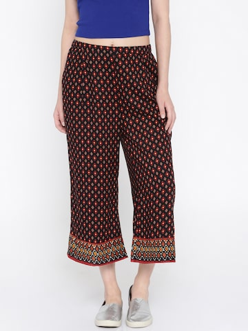 109F Black Printed Culottes at myntra