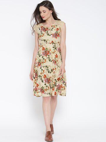 109F Women Beige Printed Empire-Line Dress at myntra