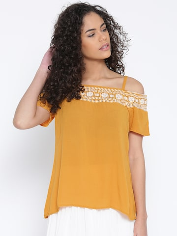 109F Women Mustard Yellow Bardot Top at myntra