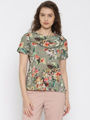 109F Women Olive Green Floral Printed Top at myntra