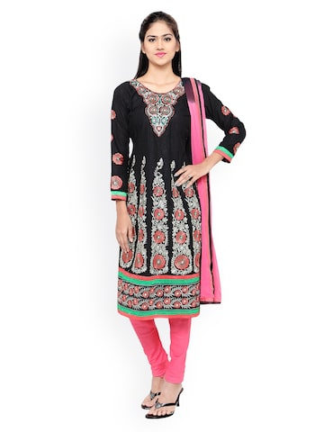 Florence Black & Pink Unstitched Dress Material at myntra