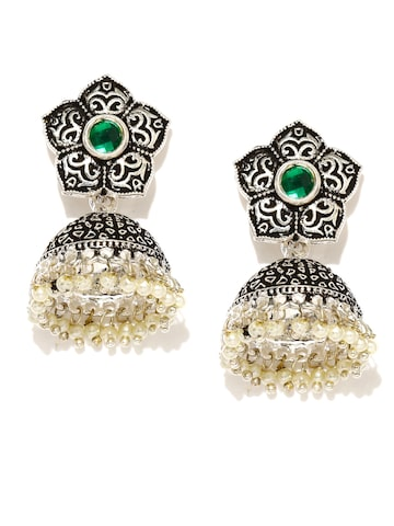 Zaveri Pearls Oxidised Silver-Plated Textured Jhumka Earrings at myntra
