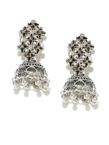 Zaveri Pearls Oxidised Silver-Plated Textured Floral Jhumkas at myntra