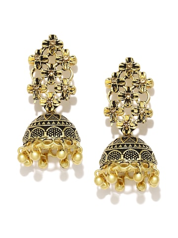 Zaveri Pearls Antique Gold-Plated Textured Floral Jhumkas at myntra