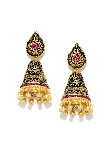Zaveri Pearls Antique Gold-Plated Embellished Drop Earrings at myntra