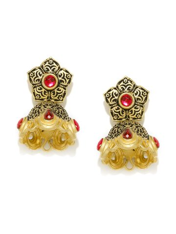 Zaveri Pearls Antique Gold-Plated Textured Jhumkas at myntra
