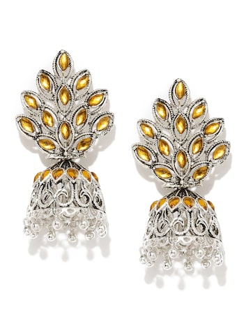 Zaveri Pearls Oxidised Silver-Plated & Yellow Stone-Studded Jhumkas at myntra