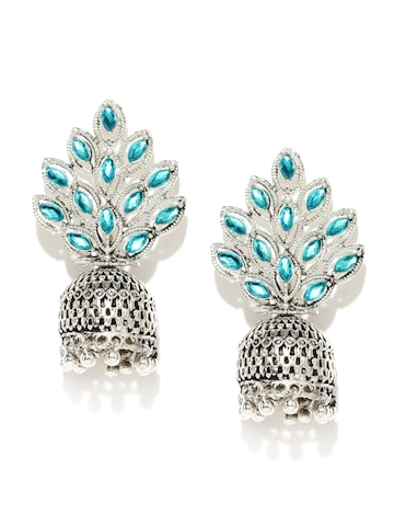 Zaveri Pearls Turquoise Blue Oxidised Silver-Plated Jhumkas at myntra