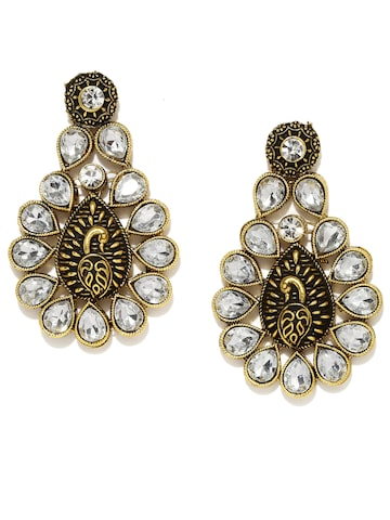 Zaveri Pearls White Antique Gold-Plated Drop Earrings at myntra