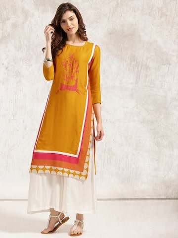 Anouk Women Mustard Yellow Printed Kurta Anouk Kurtas at myntra
