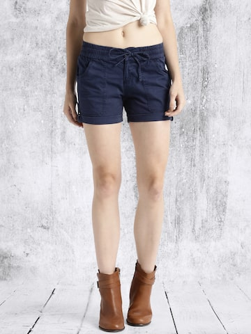 Roadster Women Navy Blue Solid Regular Fit Hot Pants at myntra