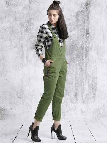 Roadster Women Olive Green Dungarees at myntra