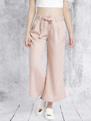 Roadster Women Dusty Pink Regular Fit Solid Flared Trousers at myntra