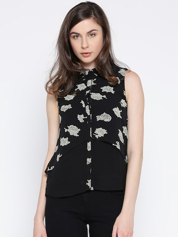 Lee Cooper Women Black Printed Layered Casual Shirt Lee Cooper Shirts at myntra
