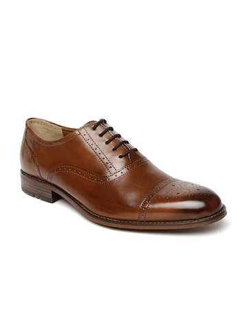 Ruosh Work Men Brown Genuine Leather Oxford Shoes at myntra