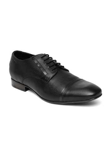 Ruosh Work Men Black Semiformal Leather Oxford Shoes at myntra