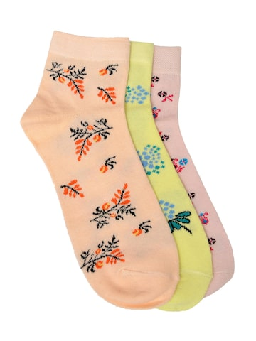 MARC Women Set of 3 Patterned Ankle-Length Socks at myntra