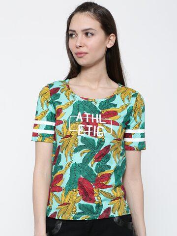 Ajile by Pantaloons Women Green Printed Round Neck T-shirt at myntra