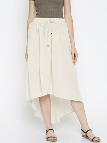 Global Desi Off-White Speckled High-low Skirt at myntra