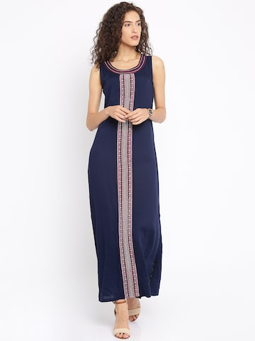 Global Desi Women Navy Embroidered Maxi Dress at myntra