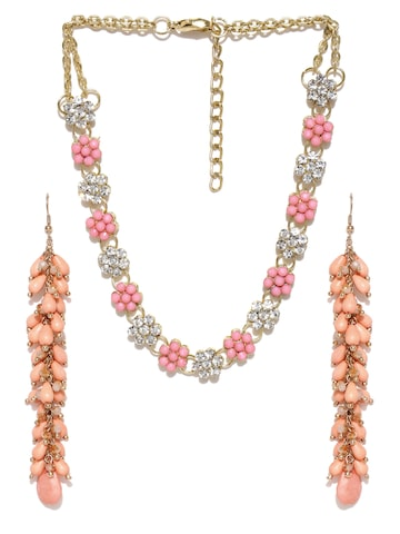 Blueberry Pink & Peach-Coloured Beaded Jewellery Set at myntra