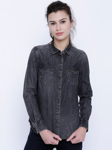 Tokyo Talkies Women Charcoal Grey Classic Fit Faded Casual Shirt at myntra