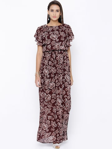 Tokyo Talkies Women Maroon Semi-Sheer Floral Print Maxi Dress at myntra