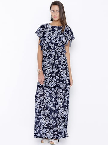 Tokyo Talkies Women Navy Semi-Sheer Floral Print Maxi Dress at myntra
