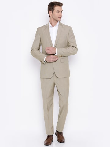 Park Avenue Beige Slim Fit Single-Breasted Two-Piece Formal Suit at myntra