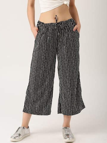 DressBerry Women Black & White Regular Fit Striped Culottes at myntra