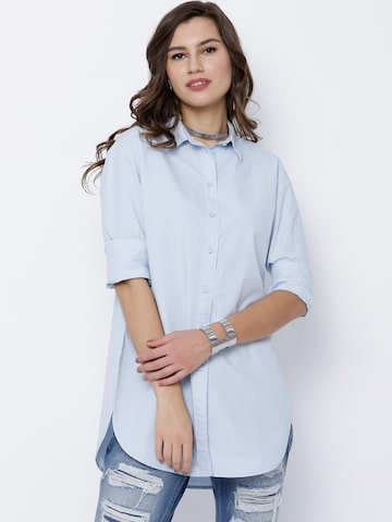 Tokyo Talkies Women Blue Classic Fit Solid Casual Shirt at myntra