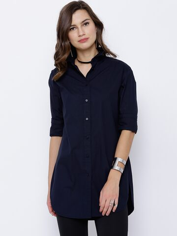 Tokyo Talkies Women Navy Classic Fit Casual Shirt at myntra
