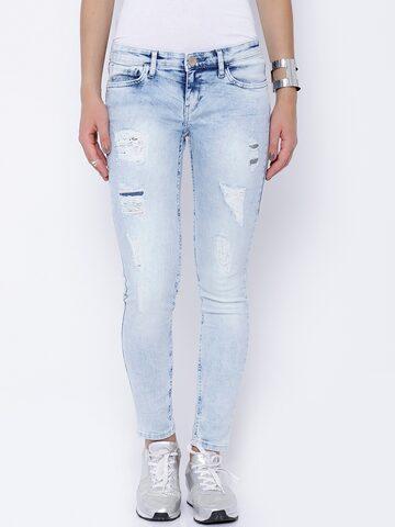 Tokyo Talkies Women Blue Twiggy Super Skinny Fit Distressed Jeans at myntra