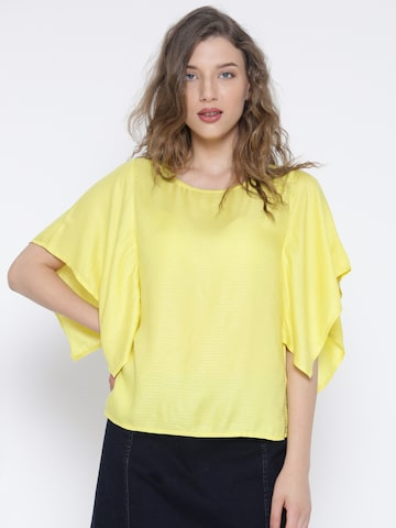 United Colors of Benetton Women Yellow Styled Back Top at myntra