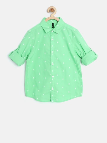 United Colors of Benetton Boys Green Printed Shirt at myntra