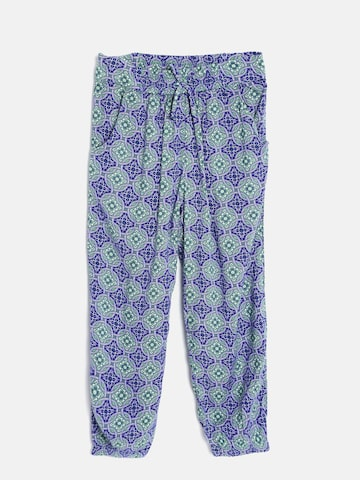 United Colors of Benetton Girls Blue & Green Printed Cuffed Trousers at myntra