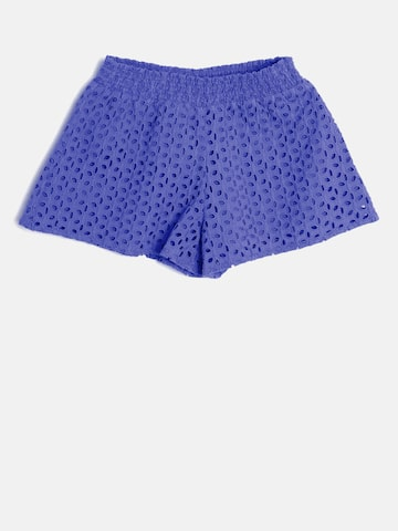 United Colors of Benetton Girls Blue Schiffli Embroidered Shorts at myntra