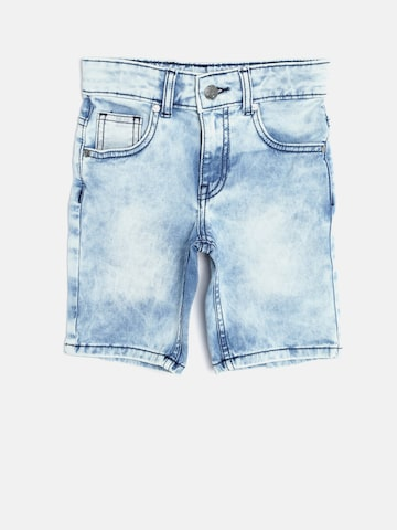 United Colors of Benetton Boys Blue Acid Washed Denim Shorts at myntra