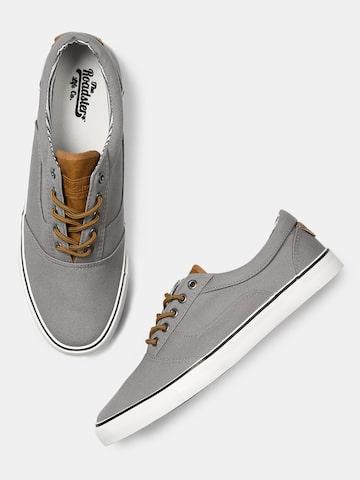 Roadster Men Grey Solid Sneakers at myntra