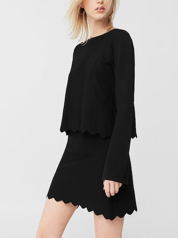 MANGO Black Self-Striped Mini A-Line Skirt at myntra