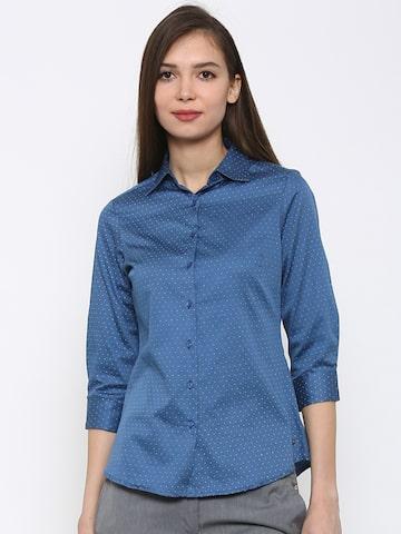 Park Avenue Women Blue Printed Semi Formal Shirt at myntra