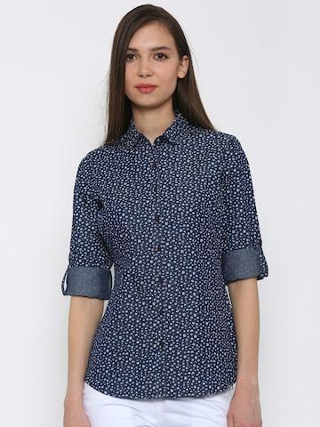 Park Avenue Women Navy Printed Shirt at myntra