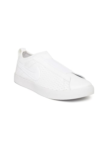 Nike Women White Leather Racquette 17 Slip-On Sneakers at myntra