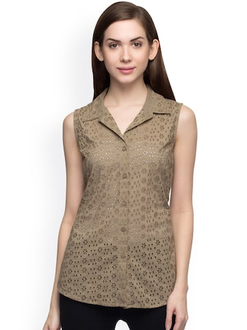 Oxolloxo Women Brown Standard Fit Self-Design Casual Shirt at myntra