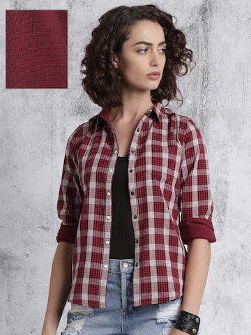 Roadster Women Red & Beige Checked Reversible Casual Shirt at myntra