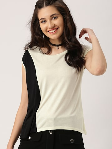DressBerry Women Off-White Colourblocked Top at myntra