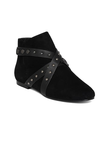 Bruno Manetti Women Black Solid Mid-Top Flat Boots at myntra