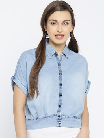 Deal Jeans Women Blue Solid Casual Shirt at myntra