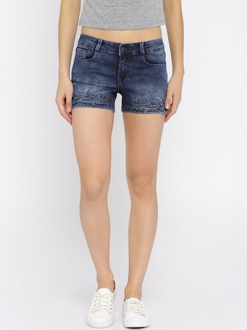 Deal Jeans Women Blue Slim Fit Denim Shorts at myntra