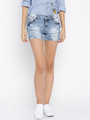 Deal Jeans Women Blue Embellished Slim Fit Denim Shorts  at myntra